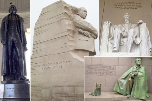 Left: Jefferson Memorial, Center: M. Luther King Memorial, Top right: Lincoln Memorial, Bottom right: Roosevelt Memorial