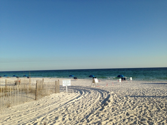 Destin public beach bordered with private properties